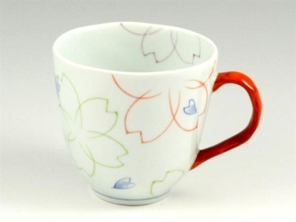染付色絵桜(赤) マグカップ