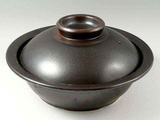 IH対応【安楽窯】黒釉土鍋 尺1寸(33cm 4~5人用)