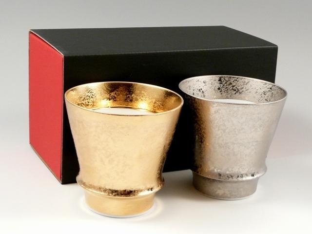 【有田焼 匠の蔵】 金彩・プラチナ彩 ペア至高の焼酎グラス<オリジナル>