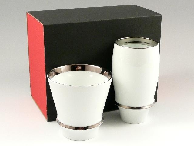 【有田焼 匠の蔵】 エンゼルリング(渕プラチナ) 至高の焼酎グラス・プレミアムビアグラスセット<オリジナル>