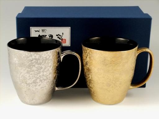 プラチナ濃・金濃黒釉掛分 ペアマグカップ