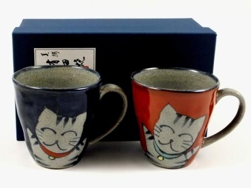 万歳猫 ペアマグカップ