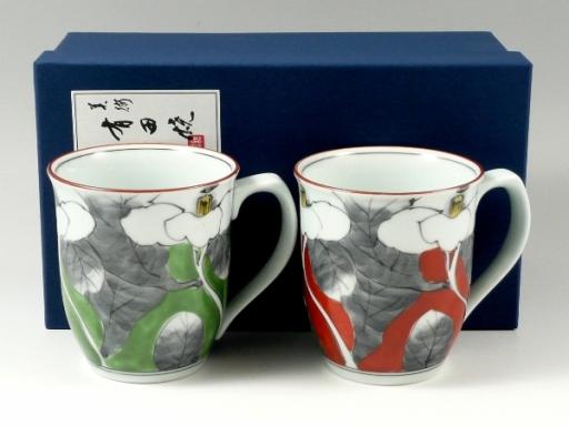 染錦山茶花 ペアマグカップ