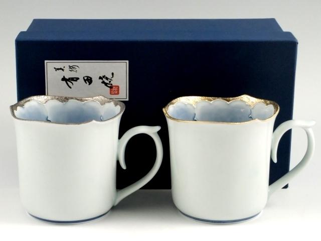 プラチナ牡丹・金牡丹輪花型 ペアマグカップ