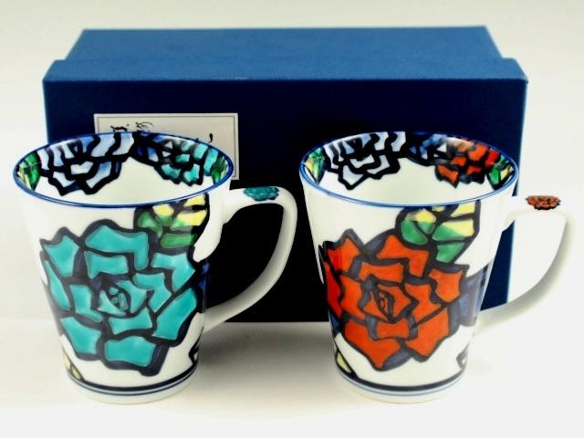 手描きバラ ペアマグカップ
