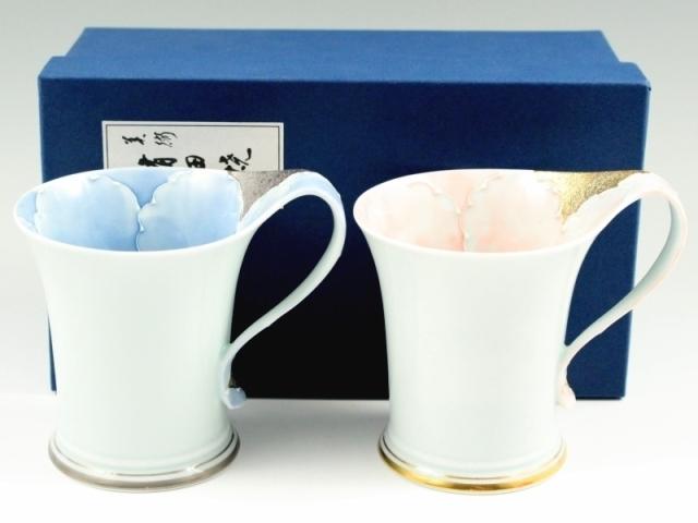プラチナ牡丹・金ピンク牡丹流転型 ペアマグカップ