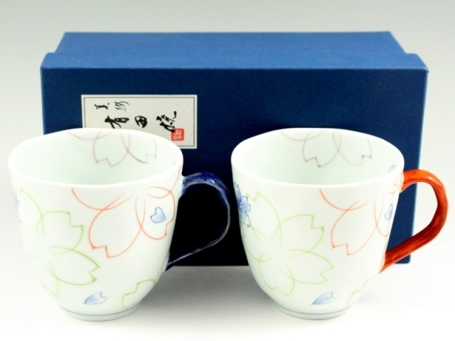 染付色絵桜 ペアマグカップ