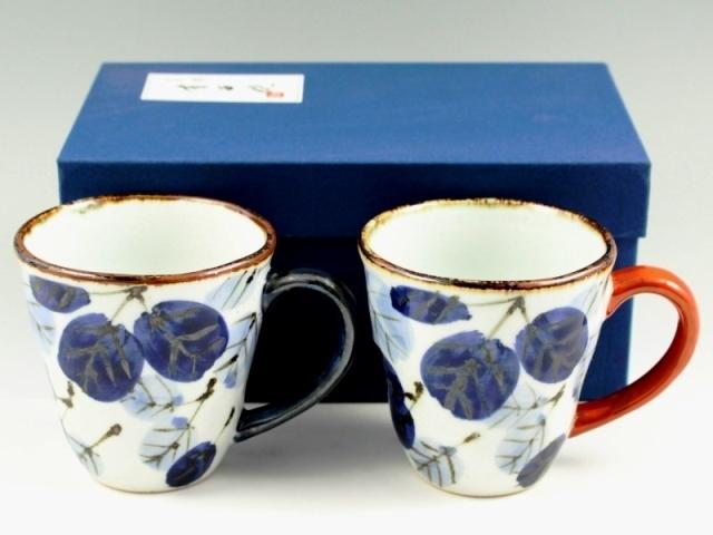 二色葉紋 ペアマグカップ