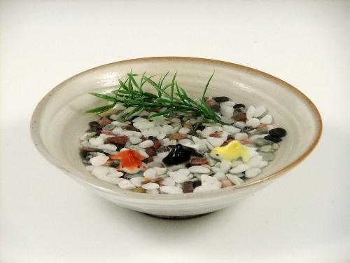 ミニ金魚3・粉引鉢(小)セット(小石付)