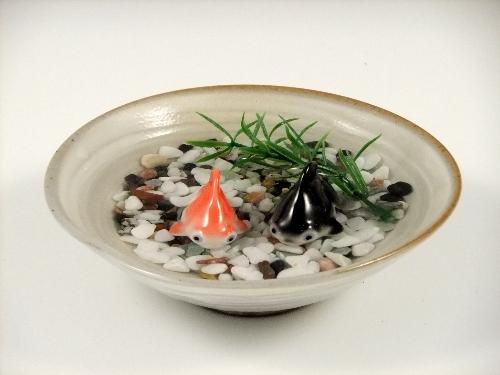 金魚2・粉引鉢(小)セット(小石付)