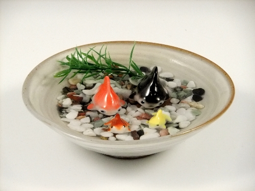 金魚2・ミニ金魚2・粉引鉢(小)セット(小石付)