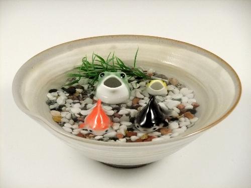 金魚2・三つ蛙 大 小・粉引鉢(大)セット(小石付)