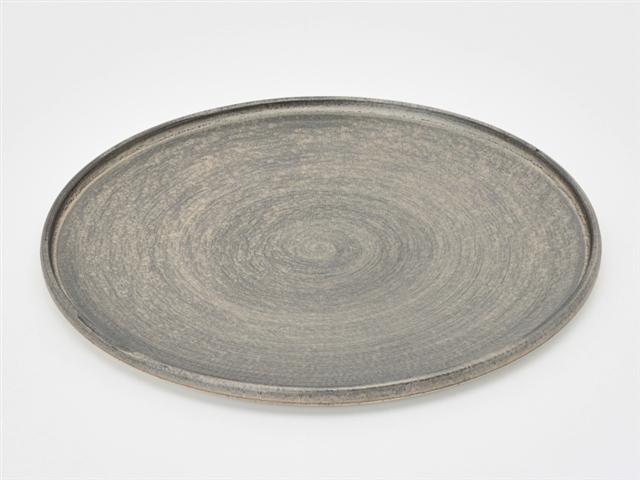 晶雲母銀 24cm渕付丸皿