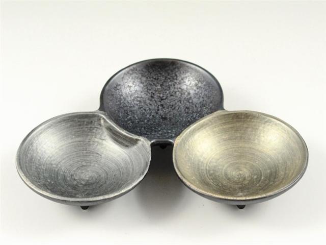 晶雲母金銀 三組小皿