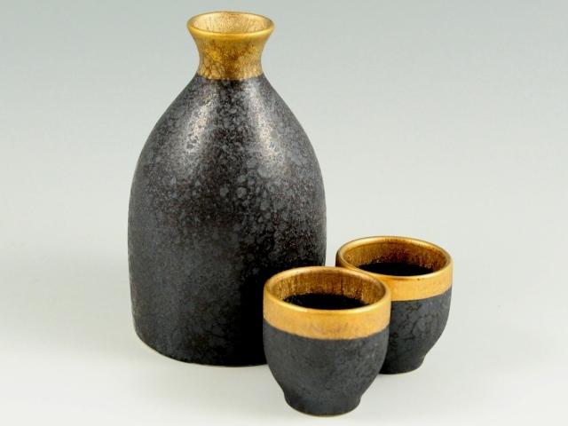 晶渕太金塗 半酒器セット(2合徳利1 グイ呑2)