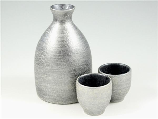 晶雲母銀 半酒器セット(2合徳利1 グイ呑2)