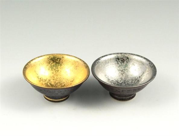 結晶釉掛分金塗・銀塗 ペア平盃