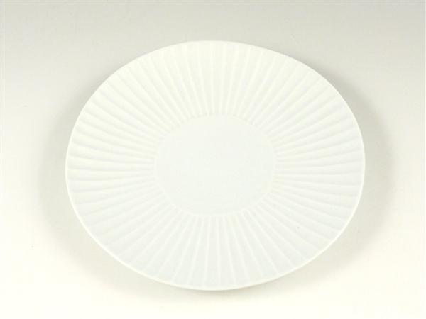 白磁 しのぎ中皿【6寸皿 18cmプレート】