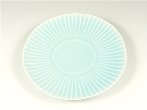 青磁しのぎ中皿【6寸皿 18cmプレート】