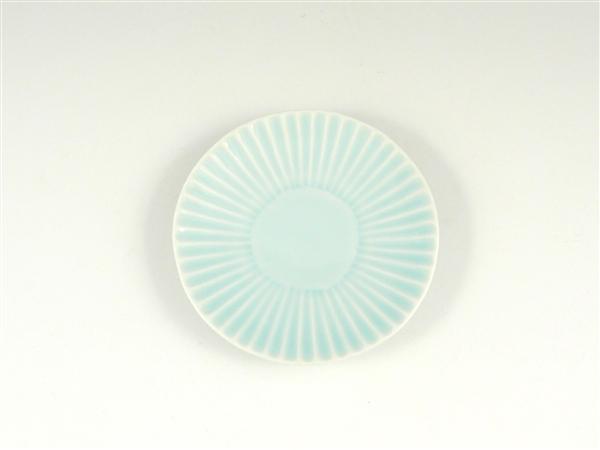 青磁しのぎ小皿【3.5寸皿 11cmプレート】