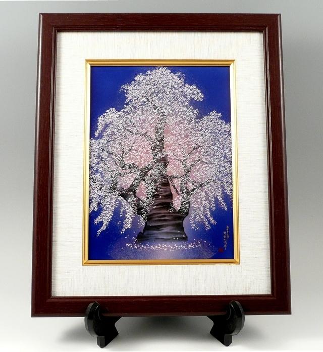 夜桜 磁器陶額
