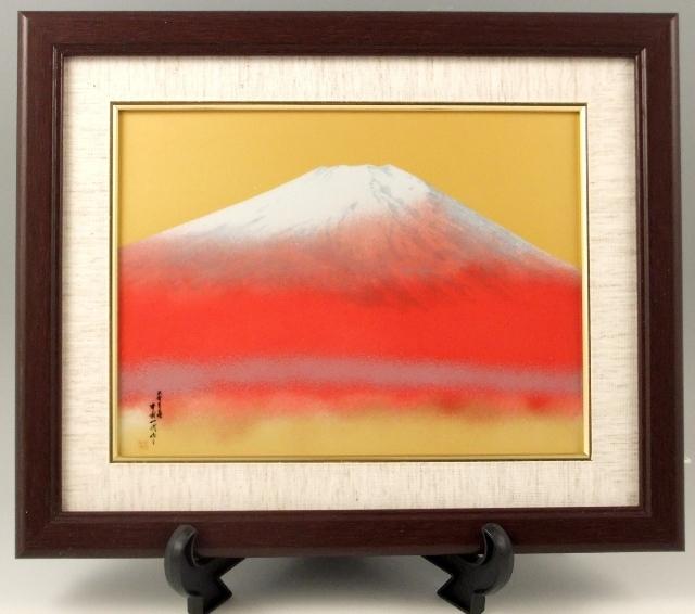 赤富士 磁器陶額