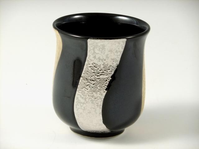 【オリジナル名入れ】黒釉金プラチナ捻り濃 湯呑