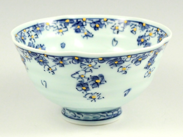 桜散し手作り 茶碗 大