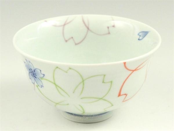 染付色絵桜 茶碗 大