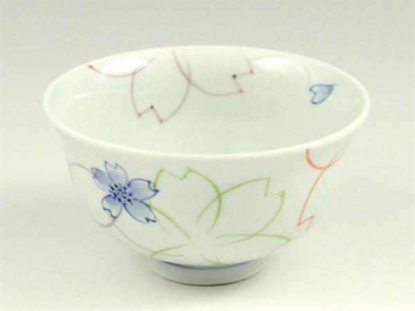 染付色絵桜 茶碗 小