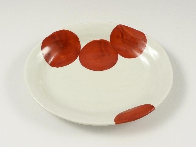 円(赤) 楕円皿