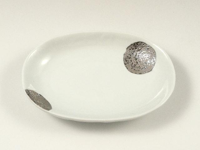 丸紋プラチナ彩小判型 取皿