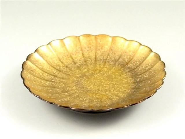 黒柚子金塗り 菊型4.5寸皿