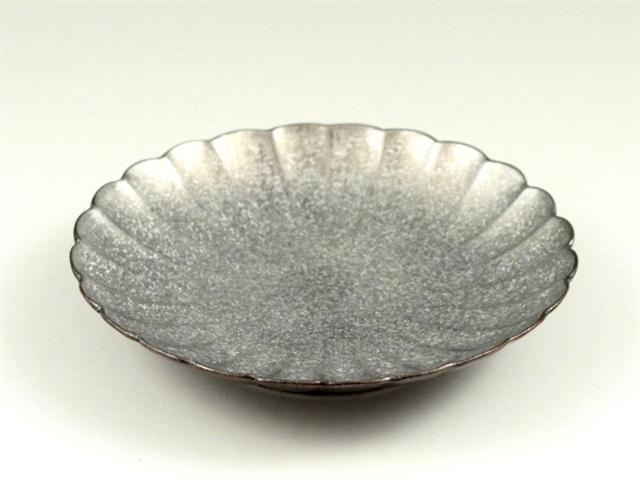 黒柚子銀塗り 菊型4.5寸皿