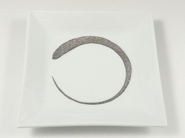 白プラチナ刷毛額渕 5.5寸皿