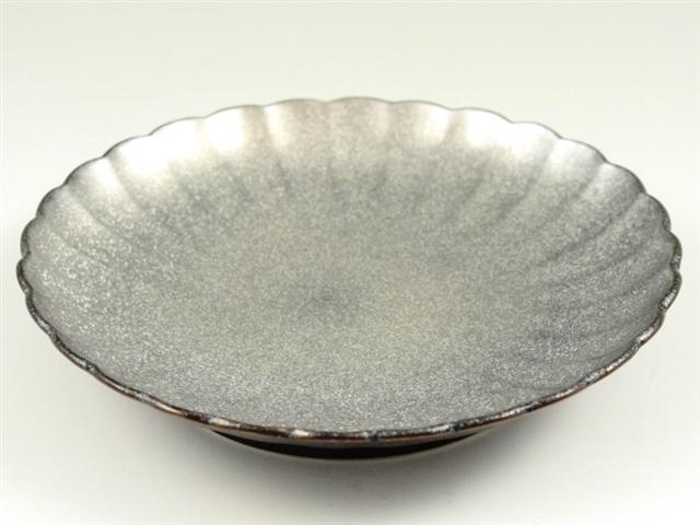 黒柚子銀塗り 6寸皿