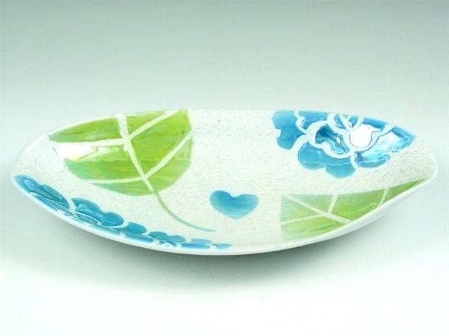 ラスターバラ(青) なぶり小判皿