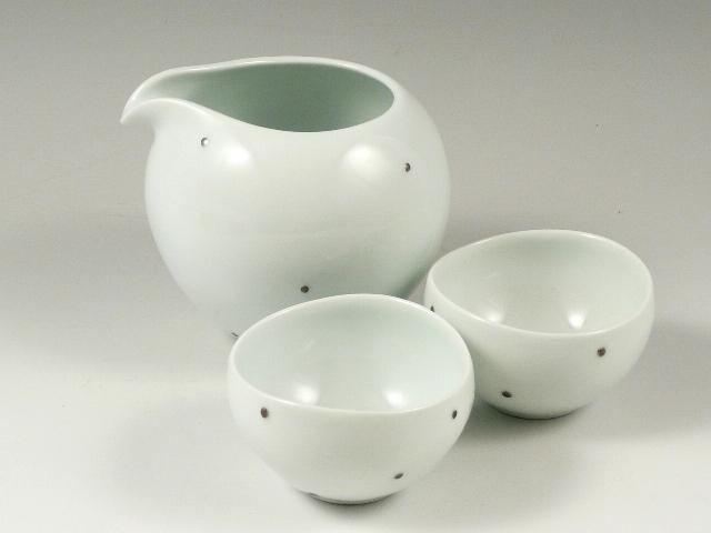 銀彩水玉 半酒器セット(徳利1 グイ呑2)