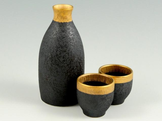晶渕太金塗 半酒器セット(1合徳利1 グイ呑2)