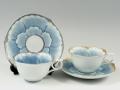 プラチナ牡丹・金牡丹輪花浅型 ペアコーヒーカップ&ソーサー