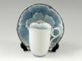 プラチナ牡丹輪花深型 コーヒーカップ&ソーサー