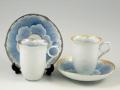 プラチナ牡丹・金牡丹輪花深型 ペアコーヒーカップ&ソーサー