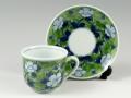 染錦山吹(緑) コーヒーカップ&ソーサー