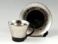 <父の日ギフト好適品>プラチナ濃黒釉掛分 コーヒーカップ&ソーサー