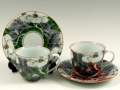 染錦山茶花 ペアコーヒーカップ&ソーサー