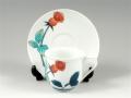 <母の日ギフト好適品> <畑萬作>色鍋島バラ紋(赤) コーヒーカップ&ソーサー