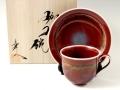 <真右エ門窯>辰砂釉彩 コーヒーカップ&ソーサー