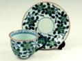 染錦鉄仙花(緑) コーヒーカップ&ソーサー
