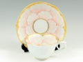 金ピンク牡丹輪花浅型 コーヒーカップ&ソーサー