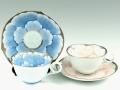 プラチナ牡丹・プラチナピンク牡丹輪花浅型 ペアコーヒーカップ&ソーサー